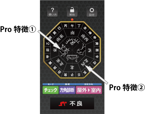 方角チェッカープロの特徴